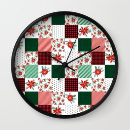 Plaid quilt pattern outdoors nature forest christmas holidays gifts Wall Clock