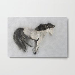 Clay Horse in the Snow Metal Print
