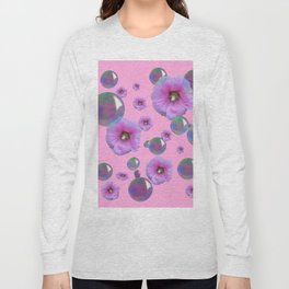 PINK-PURPLE FLOATING HOLLYHOCKS & SOAP BUBBLES PINK  ART Long Sleeve T-shirt
