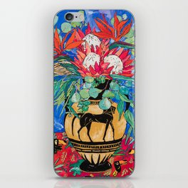 Tropical Protea Bouquet with Toucans in Greek Horse Urn on Ultramarine Blue iPhone Skin