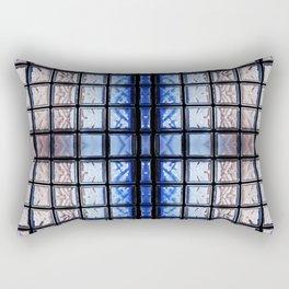 Blue toned glass bricks window abstract Rectangular Pillow