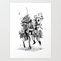 samurai Art Prints featuring Samurai! by HELLLOJOJO