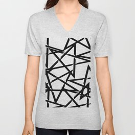 Interlocking Black Star Polygon Shape Design Unisex V-Neck