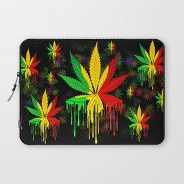 Marijuana Leaf Rasta Colors Dripping Paint Laptop Sleeve