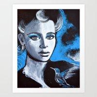 jenna kutcher Art Prints featuring Jenna by McLean - Art & Design