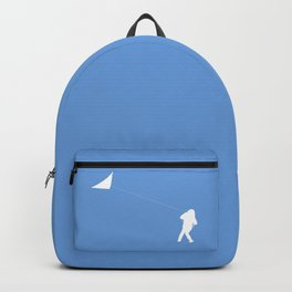 Little Girl with a Kite in Sky Blue Backpack