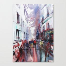 Montmartre Paris watercolor painting Canvas Print