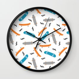 Skateboards orange and blue pattern great decor for nursery kids rooms boys and girls Wall Clock