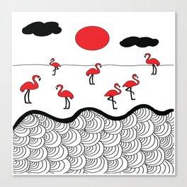 Red flamingos Canvas Print