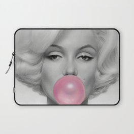 Contemporary Print - Big Pink Bubble Gum Bubble Being Blown by Mari-lyn Monroe (Black & White with Colour Picture Poster Art Artwork Modern) Laptop Sleeve