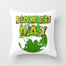 Earth Day 22 April Save the planet Throw Pillow
