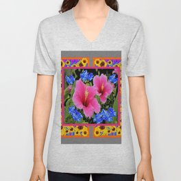 GREY PINK TROPICAL HIBISCUS BLUE-YELLOW FLOWERS Unisex V-Neck