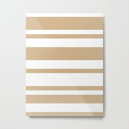Mixed Horizontal Stripes - White and Tan Brown Metal Print