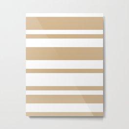 Mixed Horizontal Stripes - White and Tan Brown Metal Print