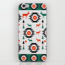 Deer in red and green iPhone Skin
