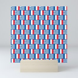 Mix of flag : France and greece Mini Art Print