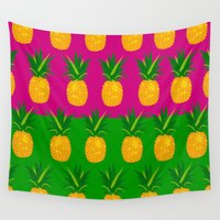 pineapples Wall Tapestries featuring Pineapples by The Wallpaper Files