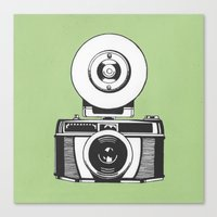 vintage camera Canvas Prints featuring Camera by danielrafalski