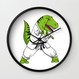 Karate T-Rex Dinosaur Ninja Martial Arts Wall Clock