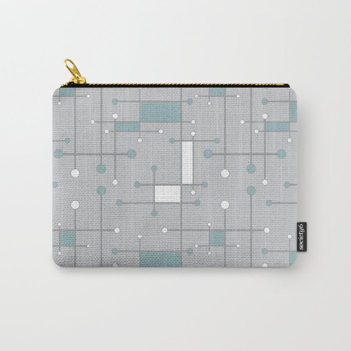 Intersecting Lines in Gray, Sea Foam and White Carry-All Pouch