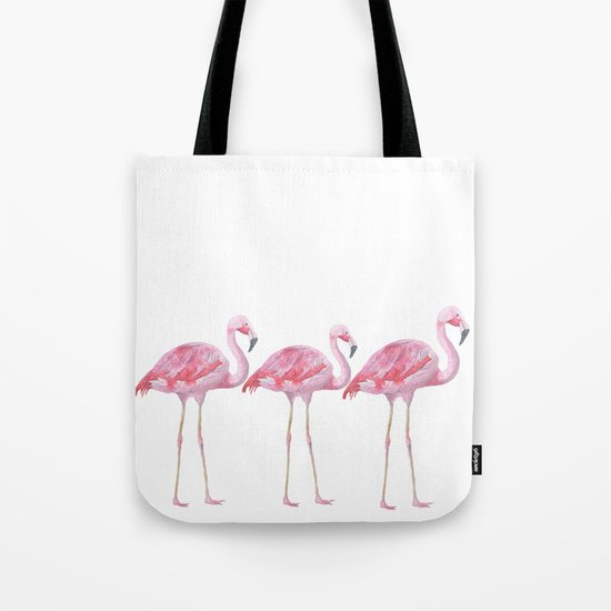 Flamingo - pink bird - animal on white background Tote Bag