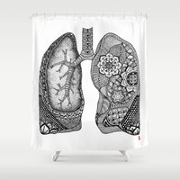 lungs Shower Curtains featuring Lungs by ericajc
