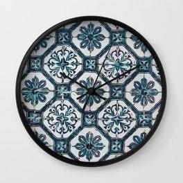 Floral ceramic tile design in blue color #Terrazzo #Blobs Wall Clock