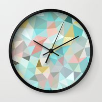 pastel Wall Clocks featuring Pastel Tris by Beth Thompson