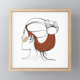 Red-haired woman with freckles. View from the back. Abstract face. Fashion illustration Framed Mini Art Print