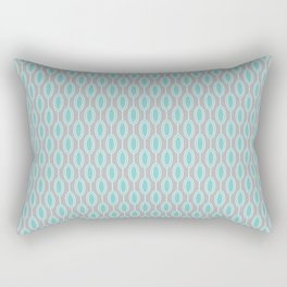 Mid Century Modern Striped Contemporary Geometric Beaded Garland in Turquoise and Gray Rectangular Pillow