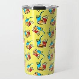 Fun Fast Food (seamless pattern in yellow) Travel Mug