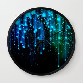 Nights Of Rain and Stars Meteor Shower Blue Wall Clock