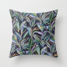 Leaves + Lines in Gold, Olive and Indigo Throw Pillow