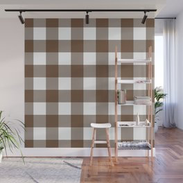 Gingham (Coffee/White) Wall Mural