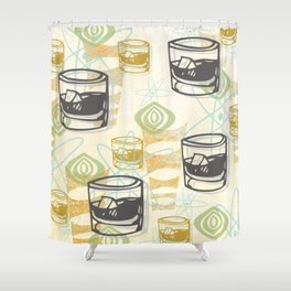 Dad Is Home Retro Midcentury Whiskey Pattern Shower Curtain