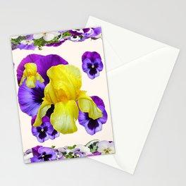 WHITE PANSY & IRIS  GARDEN ART DESIGN Stationery Cards