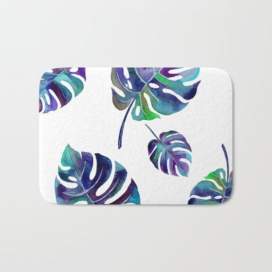 watercolor leaves Bath Mat