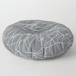 Hand Drawn Scribbles (Charcoal Grey) Floor Pillow