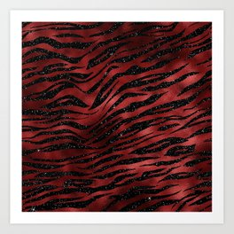 Red & Black Glitter Animal Pattern Art Print