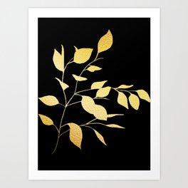 Gold & Black Leaves Art Print
