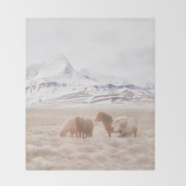 WILD AND FREE 3 - HORSES OF ICELAND Throw Blanket