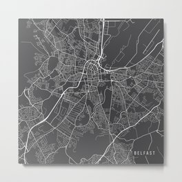 Belfast Map, Northern Ireland - Gray Metal Print