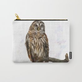 Digital Painting of  Barred Owl perching Carry-All Pouch