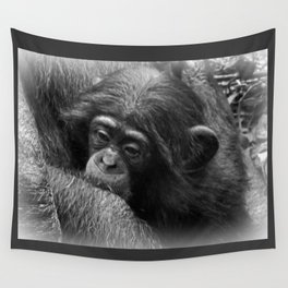 Baby Chimpanzee Cuddling Close to Mom Black and White Wall Tapestry