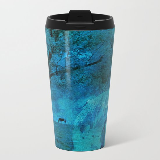 DREAM HORSE BLUE Metal Travel Mug