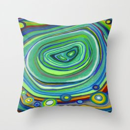 Vibrant Pastel on Suede Tree Ring Abstract by annmariescreations Throw Pillow