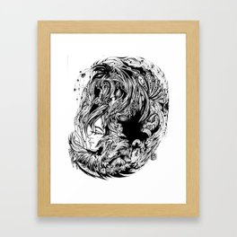 Bird Fox Hat Lady Illustration Framed Art Print