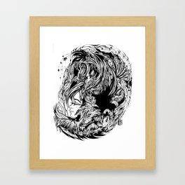 Bird Fox Hat Lady Illustration Framed Art Print
