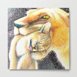 Mama and baby lion love Metal Print