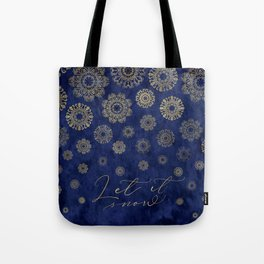 Let it snow, gold lace snowflakes in the night sky Tote Bag
